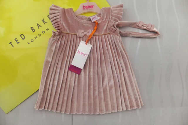 8434345267f175 Ted Baker Baby Girls Pink Velvet Pleated Dress And Headband Set BNWT 18-24  Mnths
