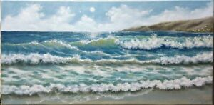 Art-oil-painting-California-surf-20-034-10-034-Seascape-ocean-view-landscape-waves