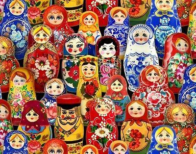 Fat Quarter Odessa Russian Dolls Cotton Quilting Fabric Elizabeth's Studio