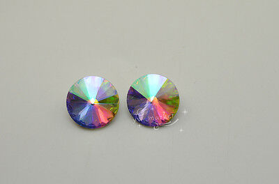 50 PCS 18mm Glass AB/Clear Faceted Glass Round Jewels