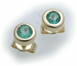 Ohrringe-Stecker-Smaragd-echt-Gold-750-Damen-Ohrstecker-18-karat-Gelbgold-gruen