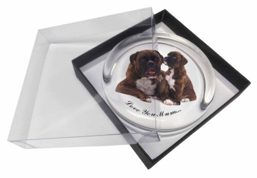AD-B40lymPW Boxer Dog+Puppy /'Love You Mum/' Glass Paperweight in Gift Box Christ