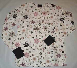 NEW-Scrubs-Print-Scrub-Jacket-2X-Polka-Flowers