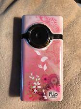 Rare Vintage Pink Floral Flower Flip MinoHD Video Camera Cloth Case Bundle