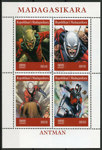 Madagascar-2019-CTO-Ant-Man-Antman-4v-M-S-Comics-Marvel-Superheroes-Stamps