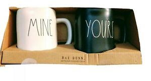 Rae Dunn by Magenta Artisan Collection MINE and YOURS Mug Set Black & White