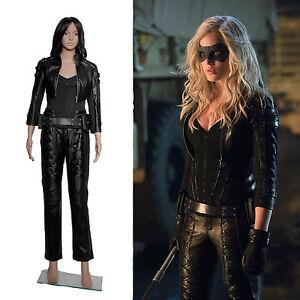 7f2a2a12bba76 Image is loading Leather-Jackets-Pants-Outfit-Arrow-Black-Canary-Sara-
