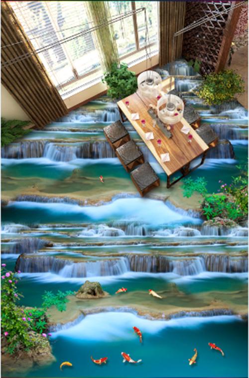 3D Waterfall fish 3525 Floor WallPaper Murals Wall Print Decal 5D AJ WALLPAPER