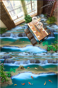 3D Waterfall fish 3525 Floor WallPaper Murals Wall Print Decal 5D AJ WALLPAPER