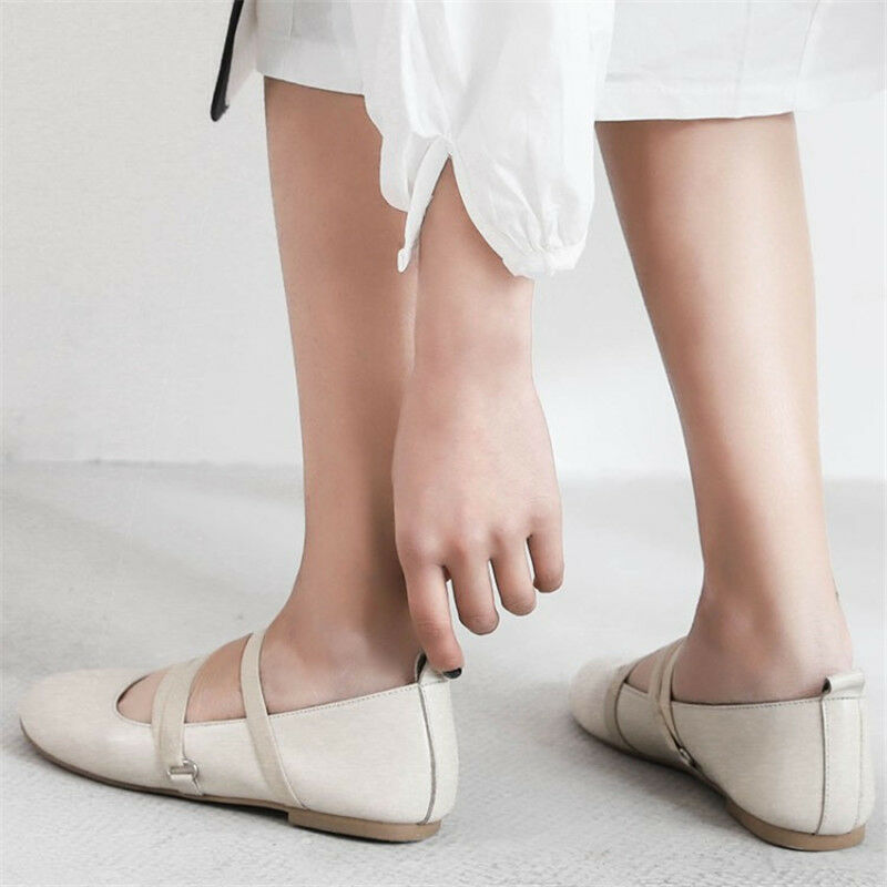 Womens Leather Ballet Ballet Ballet Flats Round Toe Pumps Flat Soft Sole Comfy Casual shoes 455a08