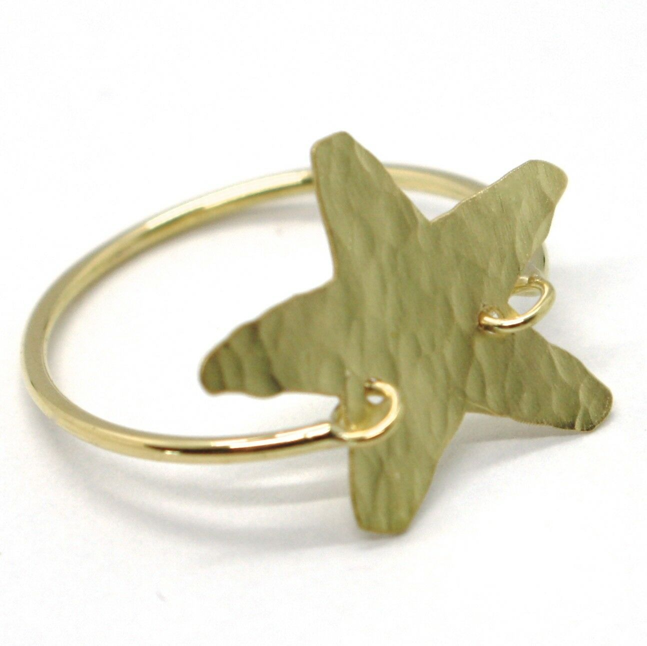18K YELLOW gold FLAT STAR RING, FINELY WORKED, SATIN, HAMMERED, MADE IN ITALY