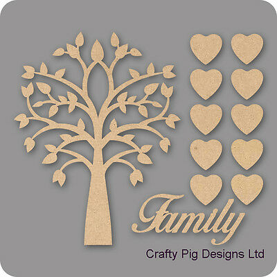 MDF Laser Cut Wooden Craft Blank Wholesale Pointy FamilyTree Kit Fuller Hearts