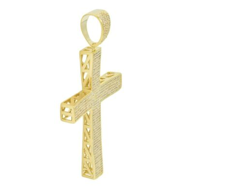 Details about  /Big Oversize Bulky Bling Icy Micro-Pave Cross 14K Gold Silver Finish CZ Pendant