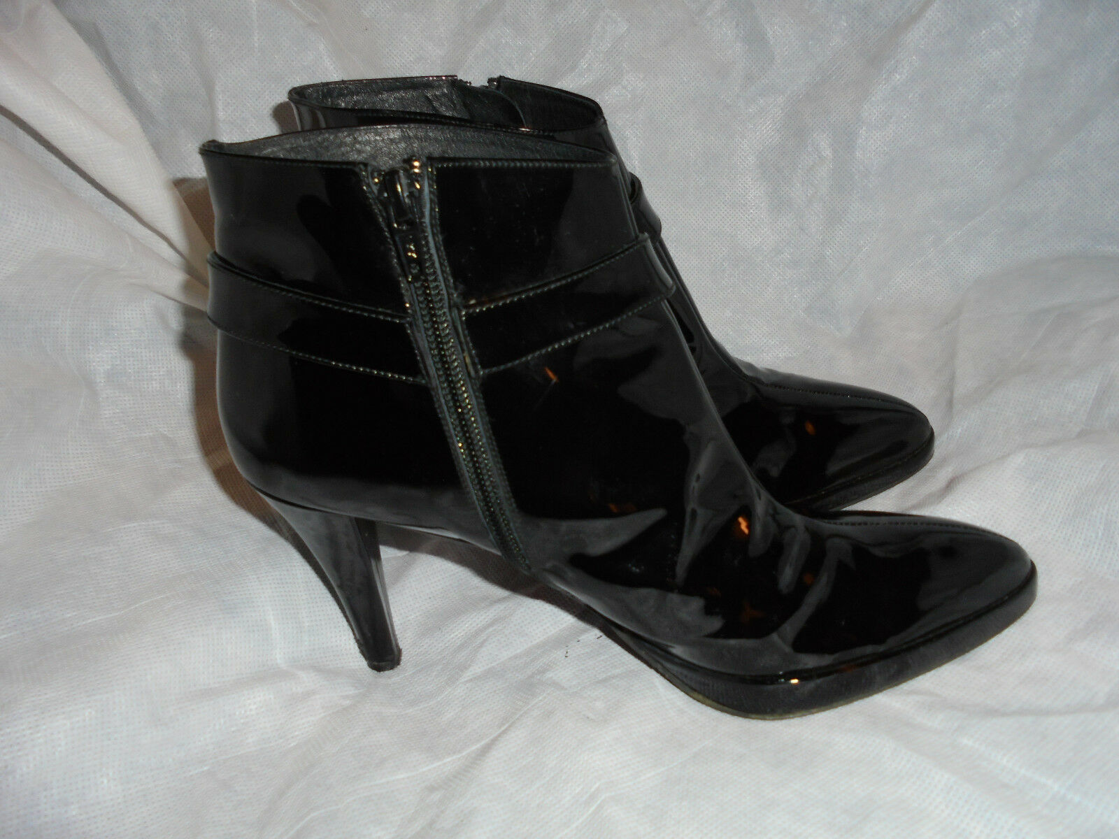 LISA KAY  WOMEN'S PATENT LEATHER ZIP ANKLE BOOT SIZE US UK 8 EU 41 US SIZE 11  VGC 50a3cb