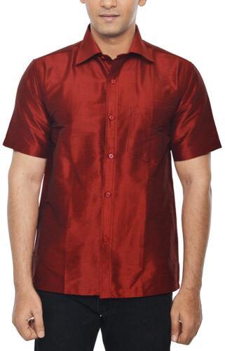Men/'s doupion soie Chemise décontractée Kurta Chemise T-shirt Taille XS-2XL Col Kameez
