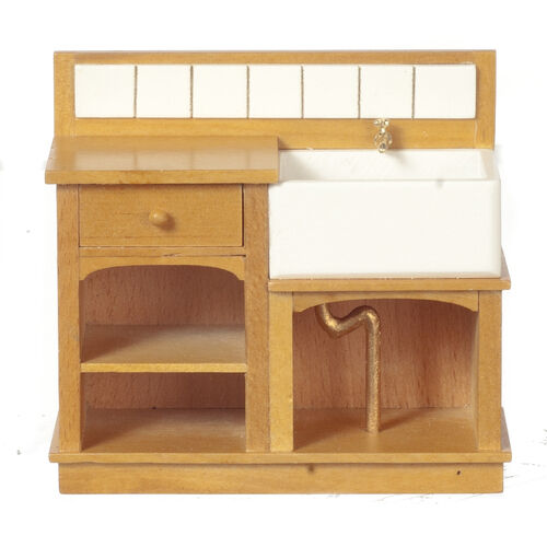 1 12 scala casa delle bambole mobili piccolo paese lavello Oak 31022go
