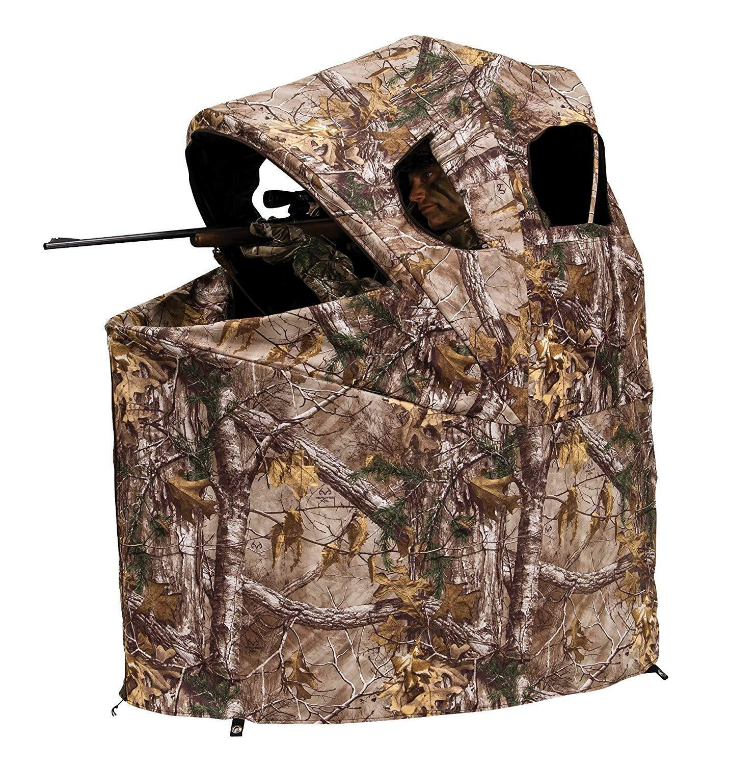 Ground Blind Hunting Chair Seat Foldable Portable Bow Rifle Realtree Xtra Camo