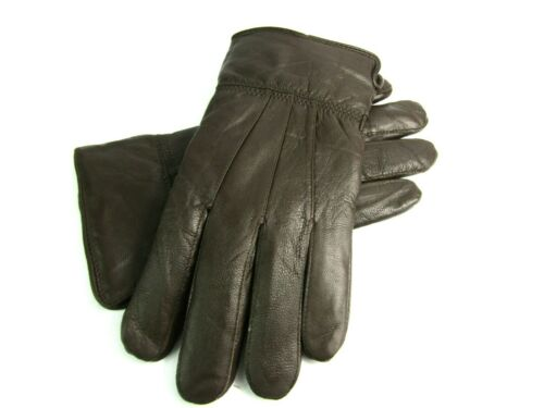 Mens New Super Soft Brown Fully Lined Real Leather Gloves Everyday Driving