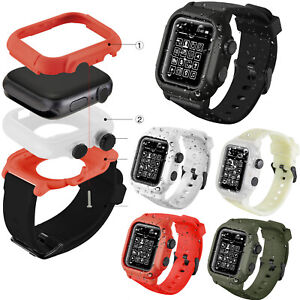 Waterproof-Case-Cover-Silicone-Bande-Sangle-pour-Apple-Watch-Series-4-3-2-1-42-44-mm