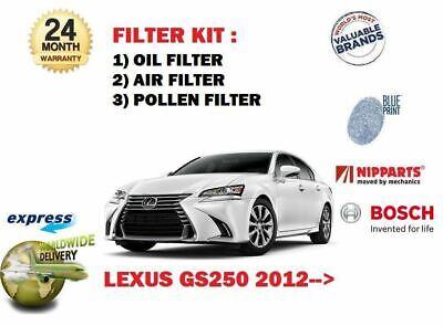 FOR LEXUS GS250 2.5 24v 4GR-FSE 2012-/> NEW OIL AIR CABIN POLLEN 3 FILTER SET