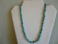 Natural Arizona Turquoise Nugget And Sterling Silver Native American Necklace