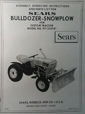 Sears Custom Garden Tractor Dozer Push Plow Owner Amp Parts Manual 917250181 10xl