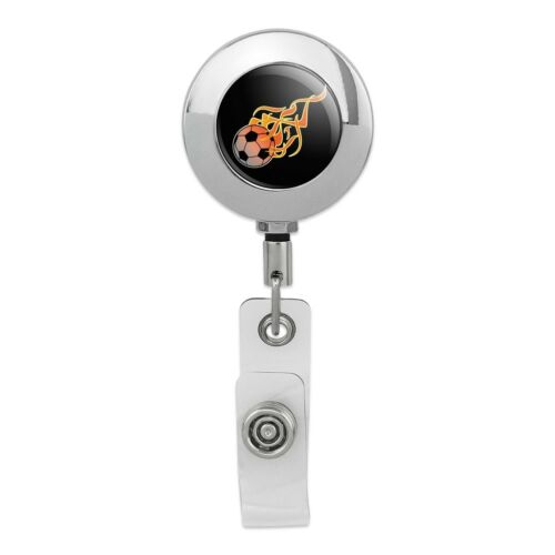Soccer Ball Football Cartoon Flames Metal Chrome Badge ID Card Holder