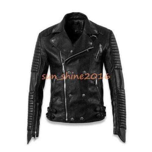 Mens Punk Veste Noir en Cuir Véritable Support Collier Crâne clous moto manteau