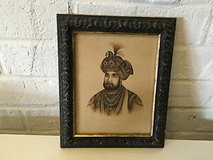 Antique-Very-Fine-Indian-Mughal-Moghul-Portrait-Drawing-of-Man-in-Turban