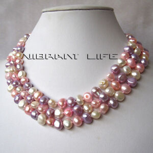 """50"""" 8-9mm White Pink Gray-Blue Baroque Freshwater Pearl Necklace U"""