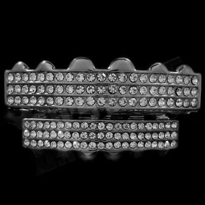 14K Black Gold Plated Iced Out Gunmetal GRILLZ CZ Tooth Teeth Caps HipHop Grills