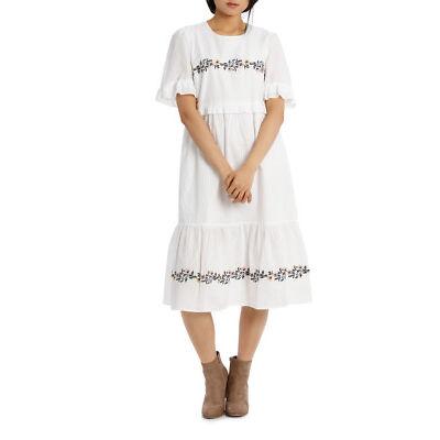 NEW Piper Dress Self Stripe Embroidered White