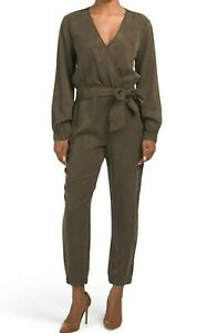 $198 NWT YOUNG FABULOUS & BROKE SzS CATELYN SURPLICE LONG SLEEVE JUMPSUIT OLIVE
