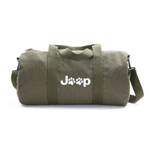 Jeep Wrangler Cat Dog Paw Prints Army Sport Heavyweight Canvas Duffel Bag