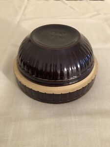 Awesome-Vintage-Ribbed-Brown-Crock-Stoneware-Mixing-Bowl-USA-7-In-Inch-Pottery