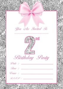 Image Is Loading BABY GIRLS 2ND BIRTHDAY PARTY INVITATIONS KIDS INVITES