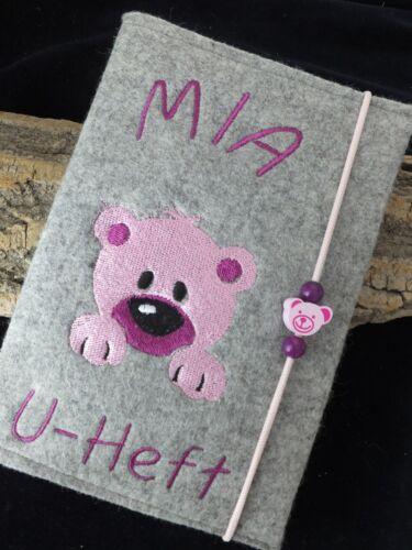 Wollfilz //Filz// U-Heft Hülle//Schutzhülle Untersuchungshefthülle Namen Bär rosa
