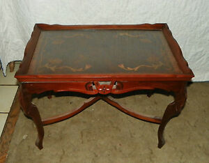 Mahogany Carved Inlaid Coffee Table With Glass Serving