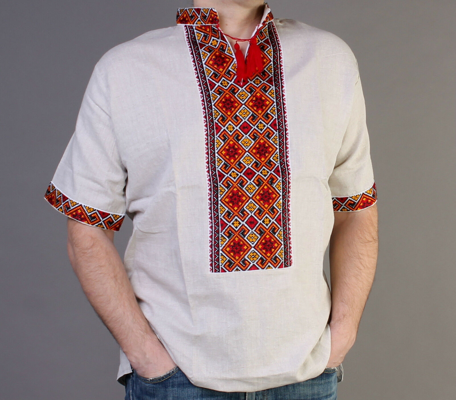 Vyshyvanka men Ukraine Hutsul inen shirt short sleeve XL Easter Gift