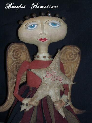 Primitive Bethany Angel winter star wings Bobbin Doll Paper Patten