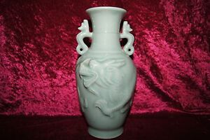 Chinese Celadon Dragon Vase With Handles And Mark