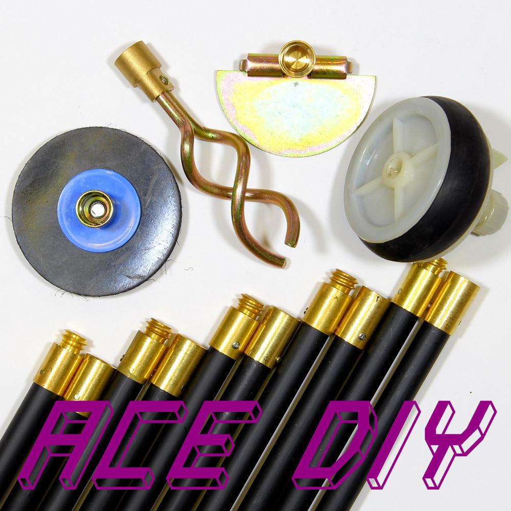 14 Piece Drain Rod Set   10 Rods with Plunger Worm Screw Scraper & Test Plug Kit