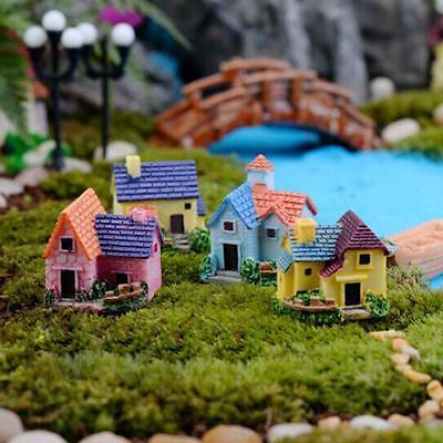 4pcs Miniature Dollhouse Bonsai Fairy Garden Resin Landscape Villa Decor