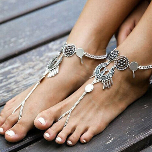 Elegant Women Ankle Bracelet Hollow Anklet Chain Foot Anklets Statement Jewelry
