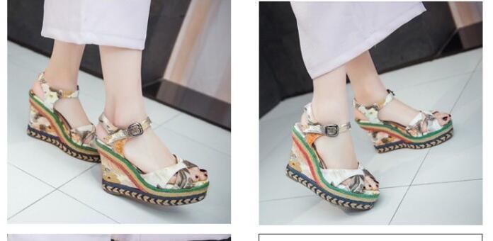 Zapatos cuña zapatillas zuecos sandalias de cuña Zapatos 10.5 amarillo azul cómodo 8259 2f3b91
