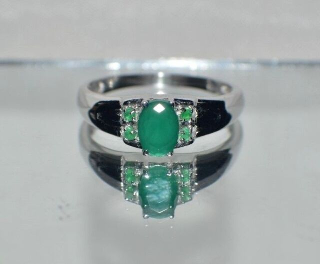NATURAL  EMERALD .925 STERLING  SILVER RING SIZE 5 to  9 GLAMOROUS  1.75 ct