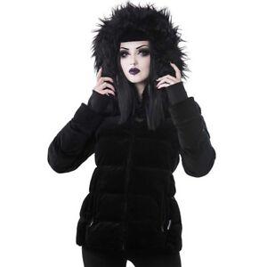 Luna Goth Lisa Schnürung Gothic Wintermantel Killstar Mantel Zu Details Puffer Jacke Samt ALc345jqR