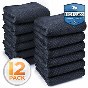 Ultra Thick Pro Moving Blankets Furniture Pads 12 Pack 72 x 80 65 lbs Dozen