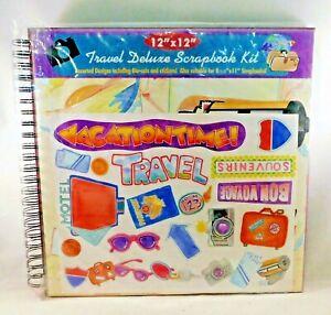 Travel-Scrapbook-Kit-Photo-Album-Wire-Bound-12-034-x-12-034-Paper-Die-Cuts-Stickers