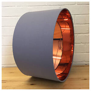 Image Is Loading Mirror Copper Amp Grey Lampshade Lightshade 25cm 30cm